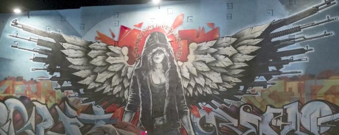 peppermint angel graffiti wall