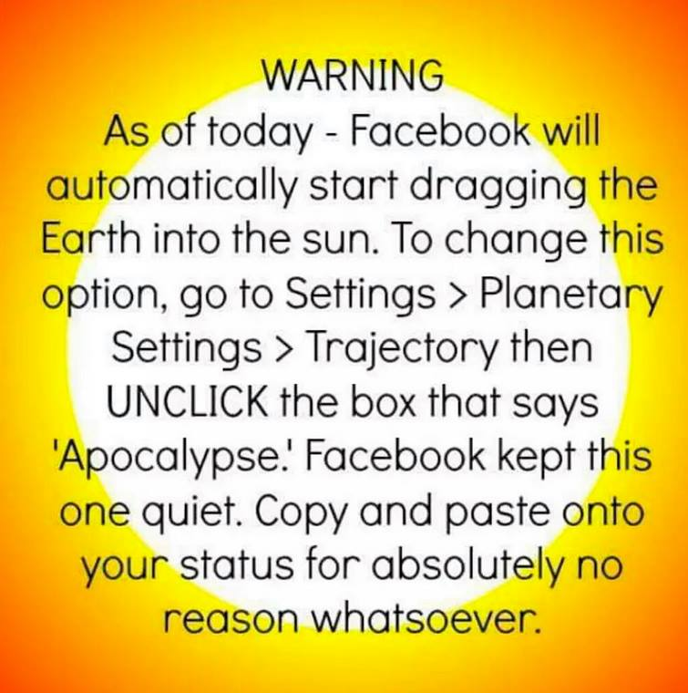 parody of facebook status update about dragging the earth into the sun